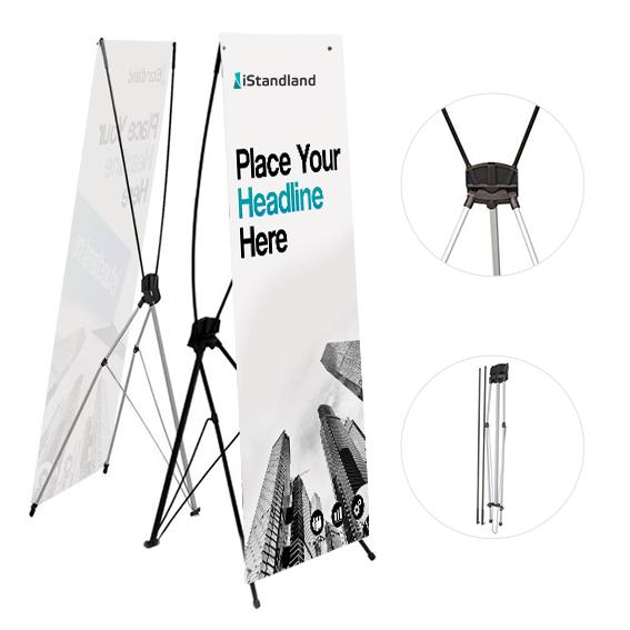 Мобильный стенд х баннер паук легкая надежная конструция. Изготовим рекламное полотно на бумаге, ткани или баннере на производстве в Москве.